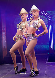 The Raunch <br /> London Wonderground, Southbank, London, Great Britain <br /> press photocall <br /> 10th May 2016 <br /> <br /> <br /> <br /> Hip-hop, rapping-tapping dancing twins My Bad Sister as The Bar Room Beauties<br /> <br /> <br /> Photograph by Elliott Franks <br /> Image licensed to Elliott Franks Photography Services