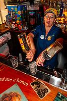 Female bartender, Jimmy Buffett's Margaritaville Cafe, Duval Street, Key West, Florida Keys, Florida USA