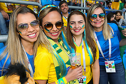 Brazil fans in the stands ahead of the FIFA World Cup Group E match at Saint Petersburg Stadium, Russia.