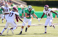 Sep 5, 2020; Huntington, West Virginia, USA; Marshall Thundering Herd tight end Garet Morrell (12) runs after a catch during the first quarter against the Eastern Kentucky Colonels at Joan C. Edwards Stadium. Mandatory Credit: Ben Queen-USA TODAY Sports