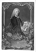 Woodcut portrait print of  Christoph Jakob Trew (1695-1769) German physician and botanist. Printed 1768