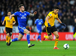 Joe Ralls of Cardiff City competes with Raul Jimenez of Wolverhampton Wanderers- Mandatory by-line: Nizaam Jones/JMP - 02/03/2019 - FOOTBALL - Molineux - Wolverhampton, England -  Wolverhampton Wanderers v Cardiff City - Premier League