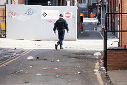 © Licensed to London News Pictures. 08/09/2019. Manchester, UK. Police seal off several blocks in the Northern Quarter of Manchester City Centre and carry out extensive fingertip and forensic searches after an Audi A3 was driven at crowds during a fight , centred around Dale Street and Newton Street , in the early hours of the morning (Sunday 8th September 2019). It's understood a fight started at the Twenty Twenty Two Club before spilling out on to the streets at about 3:30AM . Photo credit: Joel Goodman/LNP