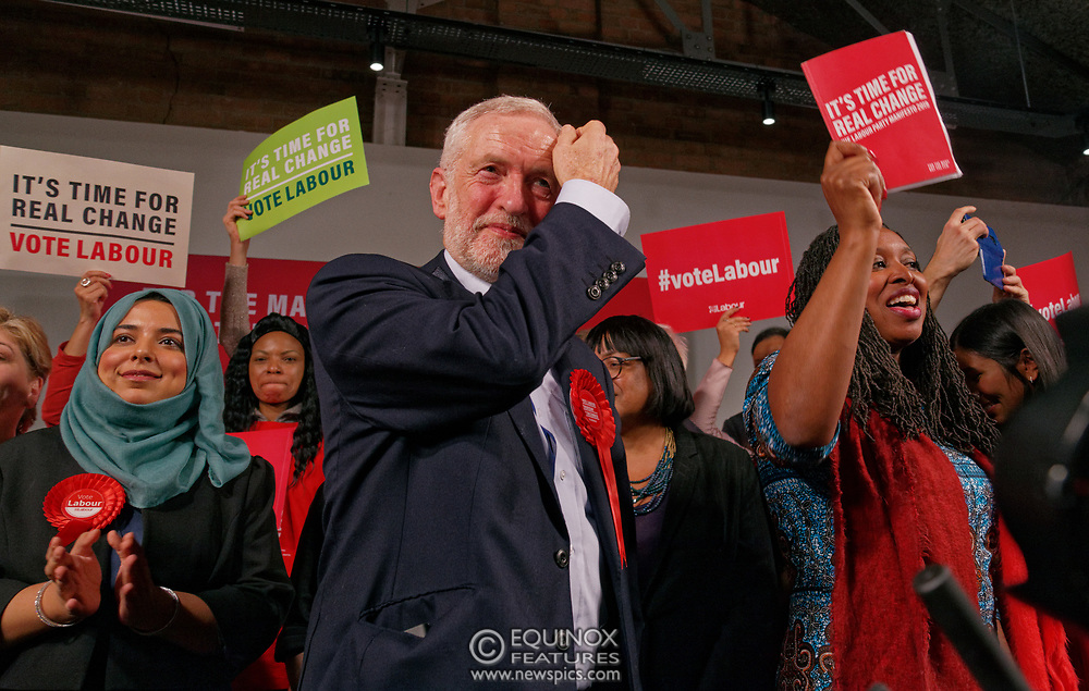 London, United Kingdom - 11 December 2019<br /> Labour Party leader Jeremy Corbyn speaking at their final campaign rally before the General Election 2019 at Hoxton Docks, London, England, UK.<br /> (photo by: EQUINOXFEATURES.COM)<br /> Picture Data:<br /> Photographer: Equinox Features<br /> Copyright: ©2019 Equinox Licensing Ltd. +443700 780000<br /> Contact: Equinox Features<br /> Date Taken: 20191211<br /> Time Taken: 21581494<br /> www.newspics.com