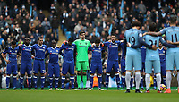Football - 2016 / 2017 Premier League - Manchester City vs. Chelsea<br /> <br /> Minutes silence in support of Brazil's Chapecoense after the air crash in Columbia at The Ethiad.<br /> <br /> COLORSPORT/LYNNE CAMERON