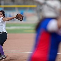 Miyamura Patriot Monique Ashley (8) pitches to the West Mesa Mustangs Tuesday at Ford Canyon Park.