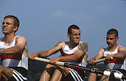 Hazewinkel. BELGIUM, GER JM8+. <br /> Martin SCHMIDT,  Andreas PAUL, Robert BLOCK, Edmund KOESSEL,  Machon<br /> VOLKER,  Thomas RUSS, Manuel FENSKE,  Jan RONNECKER,  Ronny FISCHER, 1997 FISA Junior World Rowing Championships. Course, Bloso Rowing Centre, Heindonk, Willebroek, Mechelen, Belgium.<br /> <br /> <br /> [Mandatory Credit; Peter Spurrier/Intersport-images] 1997 Junior World Rowing Championships, Hazewink