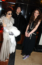Left to right, YOKO ONO, SEAN LENNON and ELIZABETH JAGGER  at Andy & Patti Wong's Chinese New Year party to celebrate the year of the Rooster held at the Great Eastern Hotel, Liverpool Street, London on 29th January 2005.  Guests were invited to dress in 1920's Shanghai fashion.<br /><br />NON EXCLUSIVE - WORLD RIGHTS