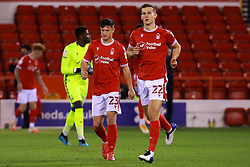 Nottingham Forest players make their way onto the pitch - Mandatory by-line: Ryan Crockett/JMP - 20/10/2020 - FOOTBALL - The City Ground - Nottingham, England - Nottingham Forest v Rotherham United - Sky Bet Championship