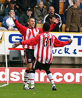 Photo: Daniel Hambury, Digitalsport<br /> Barclaycard Premiership. Wolverhampton Wanderes V Southampton   3/4//2004.  <br /> <br /> Southamptons' Kevin Phillips celebrates his second goal with team mate Yoann Folly
