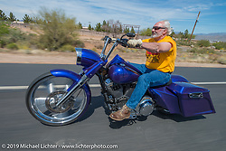 Jim Anderst on the Hamsters annual Dry Heat Run on Thursday of Arizona Bike Week 2014. USA. April 4, 2014.  Photography ©2014 Michael Lichter.