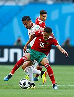 Omid Ebrahimi (Iran) and Amine Harit (Morocco)<br /> Saint Petersburg 15-06-2018 Football FIFA World Cup Russia  2018 <br /> Morocco - Iran / Marocco - Iran <br /> Foto Matteo Ciambelli/Insidefoto