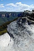 Graffiti in rock lookout. Blue Mountains, Katoomba, Australia