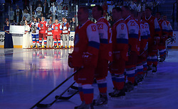 May 10, 2017 - Sochi, Russia - Russian President Vladimir Putin wearing a red jersey with the number 11 during the awards presentation of the Night Ice Hockey League at the Bolshoy Ice Dome May 10, 2017 in Sochi, Russia. The Russian leader, 64, joined in with defence chief Sergey Shoigu and three Olympian champions going on to personally score seven goals to lead his time the Hockey Legends to victory. (Credit Image: © Alexei Druzhinin/Planet Pix via ZUMA Wire)