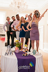 Aberlour children's charity hosted a Mad Hatter's Tea party today to launch their flagship fundraising event, Strictly C, ome Prancing.  Pictured L-R Reece Cambpell, Eddie Robb, Saul Vasakula, Carolyn Kinnaird, Catriona Jack, Adrianna Tsankova  and Catriona Jack,. 18 June 2014   (c) GER HARLEY | StockPix.eu
