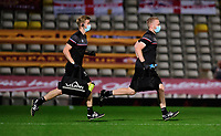 Lincoln City's head of sports science and medicine Mike Hine, left, and Lincoln City sports science and medicine assistant Luke Treadwell<br /> <br /> Photographer Chris Vaughan/CameraSport<br /> <br /> Carabao Cup Second Round Northern Section - Bradford City v Lincoln City - Tuesday 15th September 2020 - Valley Parade - Bradford<br />  <br /> World Copyright © 2020 CameraSport. All rights reserved. 43 Linden Ave. Countesthorpe. Leicester. England. LE8 5PG - Tel: +44 (0) 116 277 4147 - admin@camerasport.com - www.camerasport.com