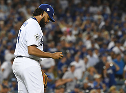 October 25, 2017 - Los Angeles, California, U.S. - Los Angeles Dodgers relief pitcher Kenley Jansen after giving up the tying run against he Houston Astros in the ninth inning of game two of a World Series baseball game at Dodger Stadium on Wednesday, Oct. 25, 2017 in Los Angeles. Houston Astros won 7-6 in 11 innings. (Photo by Keith Birmingham, Pasadena Star-News/SCNG) (Credit Image: © San Gabriel Valley Tribune via ZUMA Wire)