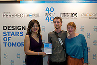 Porcelain and ceramic artists Jesse McLin (C) and Julie Progin (R) receive their 40 Under 40 Perspective magazine award from Debbie Leung (L) from Mooi Living.