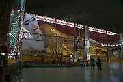 Myanmar, Yangon, reclining Buddha at the Kyauk Hitat Gyi Pagoda