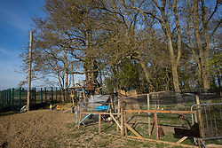 A section of Poors Piece Protection Camp is pictured on 26th April 2021 in Steeple Claydon, United Kingdom. Poors Piece Protection Camp, set up in spring 2020 at the invitation of the land's owner Clive Higgins, is one of several protest camps set up by environmental activists in opposition to the HS2 infrastructure project along its Phase 1 route between London and Birmingham.