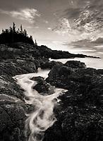 black and white coastal landscape, Acadia National Park, Maine