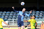 Wycombe Wanderers midfielder David Wheeler (7) heads the ball  under pressure from Norwich City midfielder Onel Hernandez (25) during the EFL Sky Bet Championship match between Wycombe Wanderers and Norwich City at Adams Park, High Wycombe, England on 28 February 2021.