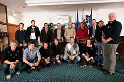 First line: (from L) Grega Domanjko, Ziga Pirih, Matevz Malesic, Andraz Krek, Luka Spik, Jure Cvet; Second line: Jure Grace, Jan SPik, Denis Zvegelj, Milan Kocjancic, Dusan Jurse, Iztok Butinar, Jost Dolnicar, Jan Ilar and Milos Jansa during the Slovenia's Rower of the year award ceremony by Rowing Federation of Slovenia, on December 17, 2010 in Hotel Golf, Bled, Slovenia.   (Photo By Vid Ponikvar / Sportida.com)