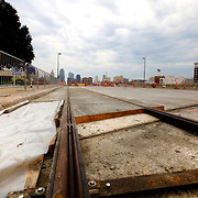 Installation of rail track on Main Street between Pershing and 20th Street for the Kansas City streetcar starter line.