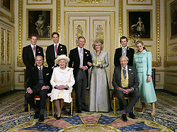 Clarence House official photo of the Prince of Wales and his new bride Camilla, Duchess of Cornwall, with their families (L-R back row Prince Harry, Prince William, Tom and Laura Parker Bowles (L-R front row) Duke of Edinburgh, Britain's Queen Elizabeth II and Camilla's father Major Bruce Shand, in the White Drawing Room at Windsor Castle. Please Credit Hugo Burnand.