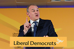 © Licensed to London News Pictures. 19/09/2021. London, UK. Liberal Democrat leader SIR ED DAVEY MP delivers his leader's speech at the Lib Dem Autumn 2021 conference in Canary Wharf in the presence of 170 attendees. This year's conference is being held online in place of the usual in-person event due to Covid-19. Photo credit: Dinendra Haria/LNP