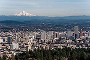 View of Mt. Hood across Portland from Pittock Mansion