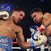 "KISSIMMEE, FL - MAY 25: Jean Carlos ""Chapito"" Rivera punches Adam Lopez during their Jr. NABF Featherweight Title fight at Osceola Heritage Park on May 25, 2019 in Kissimmee, Florida. (Photo by Alex Menendez/Getty Images) *** Local Caption *** Jean Carlos Rivera; Adam Lopez"