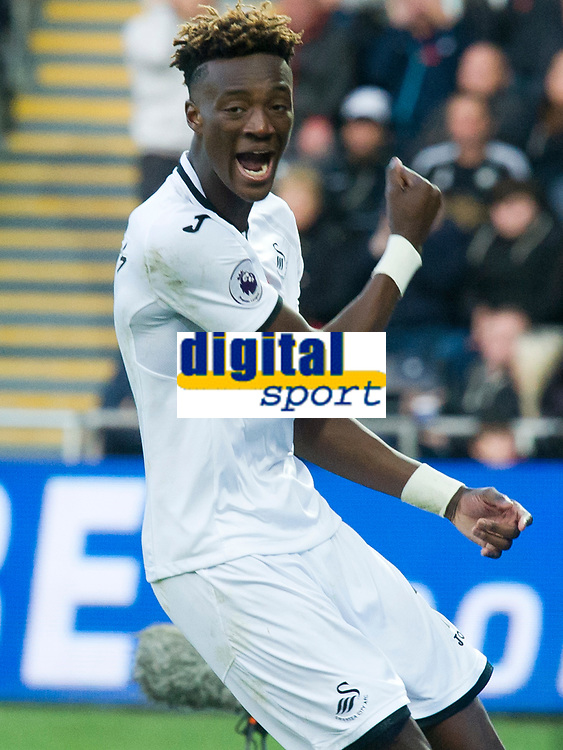 Football - 2017 / 2018 Premier League - Swansea City vs. Brighton & Hove Albion<br /> <br /> Tammy Abraham of Swansea City looks angry after he fails to take a chance at goal & is defied by Mat Ryan of Brighton and Hove Albion at The Liberty Stadium.<br /> <br /> COLORSPORT/WINSTON BYNORTH