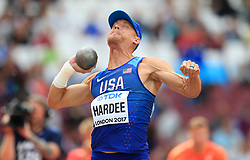 USA's Trey Hardee competes in the Men's Decathlon Shot Put during day eight of the 2017 IAAF World Championships at the London Stadium