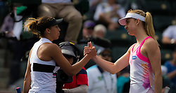 March 9, 2019 - Indian Wells, USA - Madison Keys of the United States & Mona Barthel of Germany at the net after their second-round match at the 2019 BNP Paribas Open WTA Premier Mandatory tennis tournament (Credit Image: © AFP7 via ZUMA Wire)