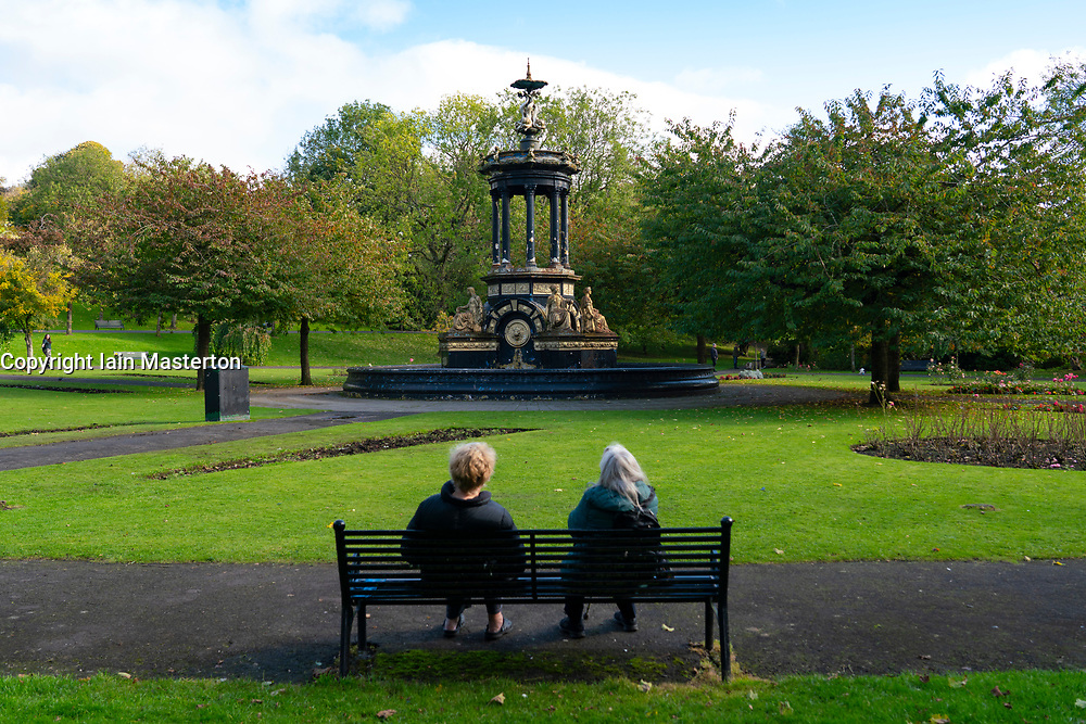 Glasgow, Scotland, UK. 7 October 2020. Time Out magazine has named Dennistoun in the East End of Glasgow as one of the world's coolest districts. Pictured; Saracen Fountain in Alexandra Park.   Iain Masterton/Alamy Live News