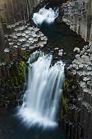 13.08.2008<br /> Litlanesfoss waterfall<br /> Hengifossá river<br /> Basalt lava solidified in hexagonal columns<br /> Iceland