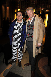 Left to right, designer 'BARNSLEY' and JOE CORRE at the London College of Fashion Show held at the Victoria & Albert Museum, Cromwell Road, London on 28th January 2010.