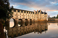 The Chateau de Chenonceau designed by French Renaissance architect Philibert de l'Orme 1555 by  to span the River Char. Loire Valley. Chenonceaux,  Indre-et-Loire département France. .<br /> <br /> Visit our EARLY MODERN ERA HISTORICAL PLACES PHOTO COLLECTIONS for more photos to buy as wall art prints https://funkystock.photoshelter.com/gallery-collection/Modern-Era-Historic-Places-Art-Artefact-Antiquities-Picture-Images-of/C00002pOjgcLacqI