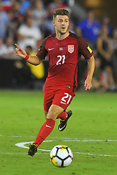 October 6, 2017 - Orlando, Florida, USA - United States midfielder Paul Arriola (21) brings the ball upfield during a World Cup qualifying game against Panama at Orlando City Stadium on Oct. 6, 2017 in Orlando, Florida.  The US won 4-0....Zuma Press/Scott Miller (Credit Image: © Scott A. Miller via ZUMA Wire)