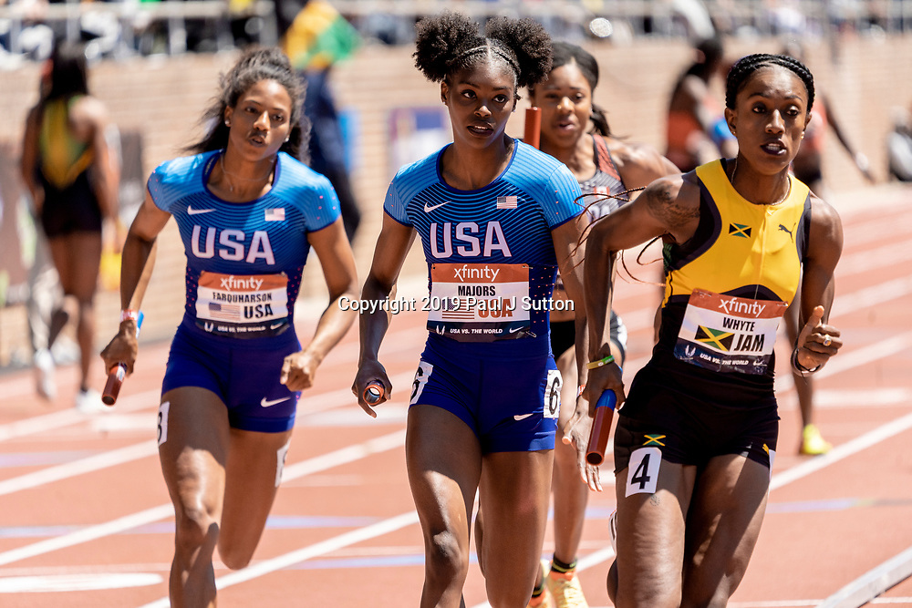 Felecia Majors (USA) competing in the USA vs the World Women 4x400m  at the 2019 Penn Relay .