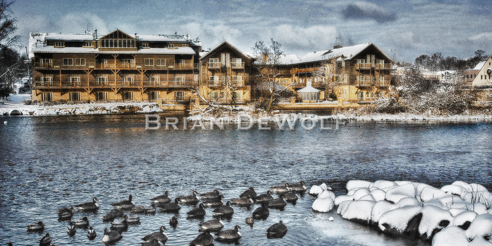This is an open edition print. Canvas prints have a 2 inch black border so it can be gallery wrapped. The print is made using pigmented inks on museum-grade canvas or watercolor paper. Each print also gets a light coating of lacquer protective spray. Each print is hand signed by Brian DeWolf.  Wintering ducks across the river from the Herrrington Inn in Geneva, Illinois