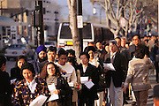 Silicon Valley, California; Immigrant naturalization ceremony Downtown San Jose. Adjacent to the Civic Auditorium. On this day more than 800 people became US citizens. (1999).