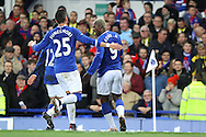 Arouna Kone of Everton (r) celebrates with his teammates after scoring his teams 1st goal. The Emirates FA cup, 3rd round match, Everton v Dagenham & Redbridge at Goodison Park in Liverpool on Saturday 9th January 2016.<br /> pic by Chris Stading, Andrew Orchard sports photography.
