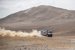 AREQUIPA, Jan. 11, 2019  Russian driver Andrey Karginov and co-driver Andrey Mokeev compete during the 4th stage of the 2019 Dakar Rally Race, near La Joya, Arequipa province, Peru, on Jan. 10, 2019. Andrey Karginov and Andrey Mokeev ranked 1st in truck group of the 4th stage with 4 hours 9 minutes and 49 seconds. (Credit Image: © Xinhua via ZUMA Wire)