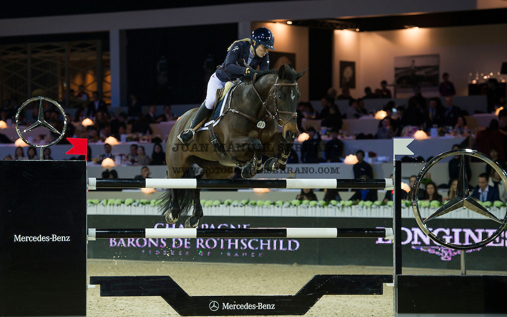 Jessica Mendoza on Spirit T competes during Longines Grand Prix at the Longines Masters of Hong Kong on 21 February 2016 at the Asia World Expo in Hong Kong, China. Photo by Juan Manuel Serrano / Power Sport Images