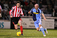 Photo: Pete Lorence.<br />Lincoln City v Wycombe Wanderers. Coca Cola League 2. 30/12/2006.<br />Mark Stallard and Tommy Mooney chase down the ball.