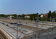 Berlin, Germany, 28.08.18,  Berlin Olympia-stadion Station, Berlin U-Bahn station, Commuters, Europe, European, German, Germany, U Bahn, Tourism, Tourist, Train, Transit, Transport, Tuesday,  © Peter SPURRIER Tuesday,  28.08.18, August 2018, Built to transport Supporters for the 1936 Olympic Games located on the Heerstraße [Army Street],