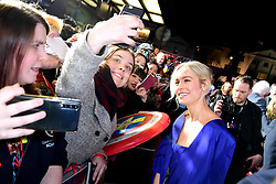 Brie Larson poses for a photo with a fan whilst attending the Captain Marvel European Premiere held at the Curzon Mayfair, London. Picture date: Wednesday February 27, 2019. Photo credit should read: Ian West/PA Wire