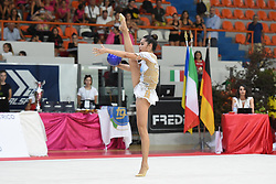July 28, 2018 - Chieti, Abruzzo, Italy - Rhythmic gymnast Alexandra Agiurgiuculese of Italy performs her ball routine during the Rhythmic Gymnastics pre World Championship Italy-Ukraine-Germany at Palatricalle on 29th of July 2018 in Chieti Italy. (Credit Image: © Franco Romano/NurPhoto via ZUMA Press)
